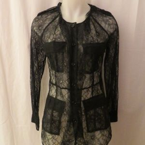 NWT THE WRIGHTS SAKS BLACK LACE BLOUSE SZ: US/6 *